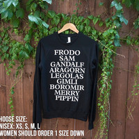 Unisex LOTR Raglan Pullover - Choose Size - MADE to ORDER - American Apparel -  Fellowship of the Ring - Lord of the Rings/Hobbit Theme