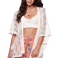 LA Hearts Crochet Trim Lace Kimono - Womens Sweater