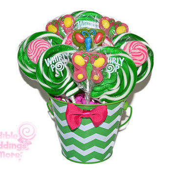 Pink and Green Butterfly Lollipop Arrangement, Candy, Butterflies, Spring, Candy Buffet, Centerpiece, Gift, Candy Basket, Candy Arrangement