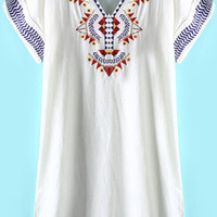 White Bohemian Embroidered V Neck Mini Dress