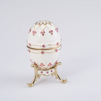 White Faberge Egg Handmade Trinket Box Handmade by Keren Kopal Decorated with Pink Swarovski Crystals