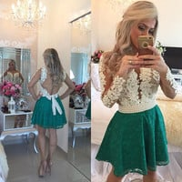 Long Sleeves Lace pearl Homecoming Dresses,Green Deep V Neck Homecoming Dress