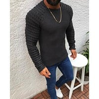 New Men'S Plaid Patchwork O-Neck Sweater Tops Male Autumn Winter Sexy Slim Fit Red Black Solid Color Sweaters Pullovers