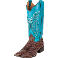 Women's Roper Brown Crocodile Belly Print Cowgirl Boots