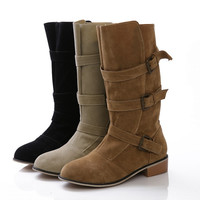 Womens Stylish Mid Calf Strapped Boots