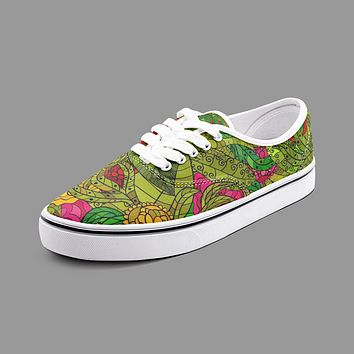 Hand Drawn Floral Seamless Pattern Unisex Canvas Shoes Fashion Low Cut Loafer Sneakers by The Photo Access
