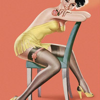 Pin Up Art Brunette Sitting On Chair Pinup Poster