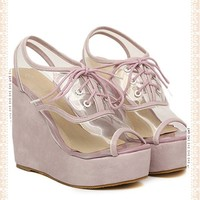 Clear Lace-Up Fish Head Wedge
