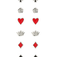 LOVEsick Red Black Silver Playing Card Suits Earring 6 Pair
