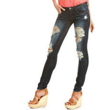 Machine Jeans Destroyed Skinny Jean: Charlotte Russe