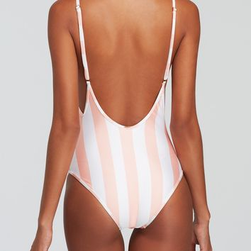 Wildfox Hotel Stripe 90's One Piece Swimsuit