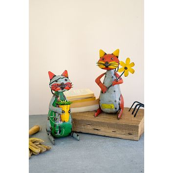 Set Of Two Recycled Iron Cats With Flower And Pot