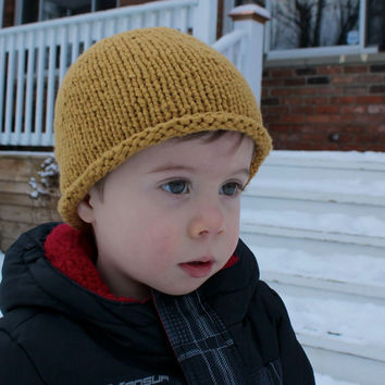 HAT - Toddler Knit Hat in Mustard Yellow - Organic Cotton - 1-3 years - Baby Hats - Baby Gifts - Baby Knits