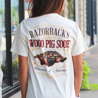 University of Arkansas Campus Hog Pocket Tee {Ivory}