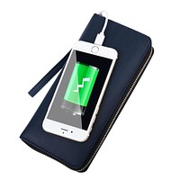ONLVAN Wallets Multifunction Women Men with 6000 mah Movable Power for Phone PU Leather Men Wallet Top Grade Gift Carteira