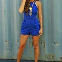 All The Right Moves Romper: Blue