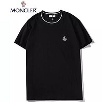 Moncler Summer New Fashion Embroidery Letter Women Men Top T-Shirt Black