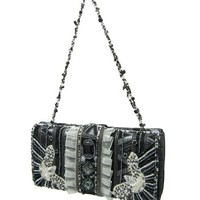 Evening Bags-Black Silver Tapestry Beaded Clutch Bag