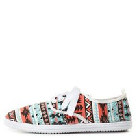 Tribal Print Canvas Sneakers by Charlotte Russe