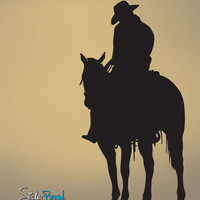 Vinyl Wall Decal Sticker Cowboy on Horse #567