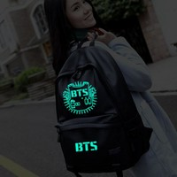 luminous leather backpack fluorescent kpop laptop rucksack fashionable school bags for teenage girls bts mochila escolar meninos