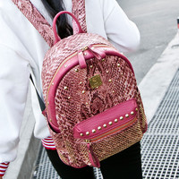 Back To School Stylish College Hot Deal Comfort Casual On Sale Rivet Ladies Korean Simple Design Backpack [4915418628]