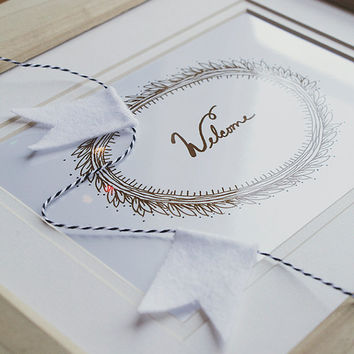 Welcome White and Brown Metallic Illustrated Wreath 8x10 Fine Art Print Handlettered Cursive Wall Decor Print