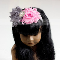 Shabby Flower Headband- Girls, American Girl Doll, Pink, Grey, Matching Set