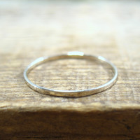 Stacking Ring Solid 14k White Gold Hammered
