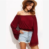 Patchwork Long Sleeve Autumn Lace T-shirts [6446618564]