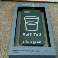 Life is Good 2 Soft HydroPolymer Cases for Apple iPhone 5 Half Full SimplyIvory
