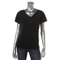 JM Collection Womens Petites Batwing Studded Pullover Top
