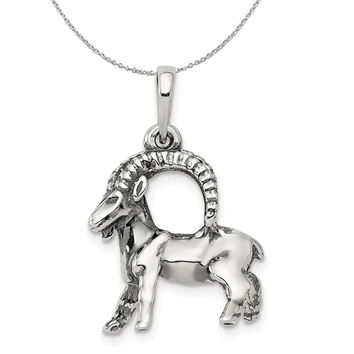 Sterling Silver Capricorn the Goat Zodiac 3D Antiqued Necklace