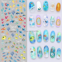 DS208 DIY Nail Design Water Transfer Nails Art Sticker Color Ocean Fishes Nail Wraps Sticker Watermark Fingernails Decals