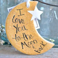 Moon and Star Salt Dough Ornament Love You to the Moon and Back