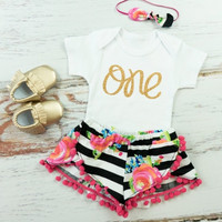 Girls First Birthday Shorts Outfit | Black and White Stripe and Fuchsia Floral Shorts with Hot Pink pom pom trim