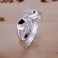 Duman Silver Plated Ring Fashion Jewelry Rhinestone Heart to Heart Ring Size 6