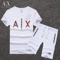 ONETOW Armani Exchange Shirt Top Tee Shorts Set Two-Piece