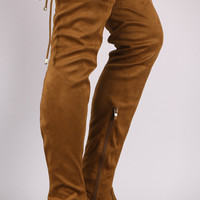 Suede Slim Lace-Tie Riding Over-The-Knee Boots