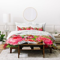 Allyson Johnson Bold Floral And Dots Duvet Cover