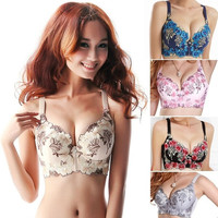 New Womens Embroidered Underwired Side Support Plunge Push Up Bra 3 SizeSV006076|26601 = 1745536964