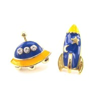 UFO and Spaceship Shaped Space Themed Stud Earrings in Blue | DOTOLY