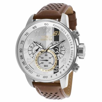 Invicta 19286 Men's S1 Rally Silver Dial Brown Perforated Strap Chronograph GMT Watch