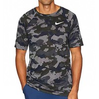 NIKE New fashion hook print camouflage couple top t-shirt