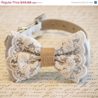 Gray Dog Bow Tie, Lace and Burlap, Rustic, Country wedding, Dog Lovers,Pet wedding accessory, Cute, Chic, Classy