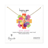 happy gem pink coral necklace, gold dipped, 18 inch