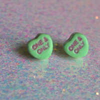 Preserved Conversation Heart Candy earrings grab bag