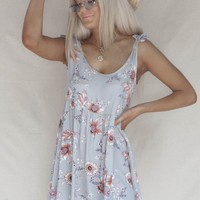 Outside Feels Cool Gray Floral Mini Dress