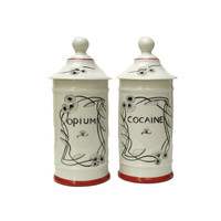 Cocaine and Opium Porcelain Apothecary Jars. Hand Painted Limoges Porcelain Apothecary Jars.