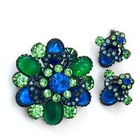 Blue Green Rhinestone Demi Parure, Floriated Design, Large Blue Green Glass Cabochons, Faceted Chaton Cuts, Japanned Silver Metal, 1960s
